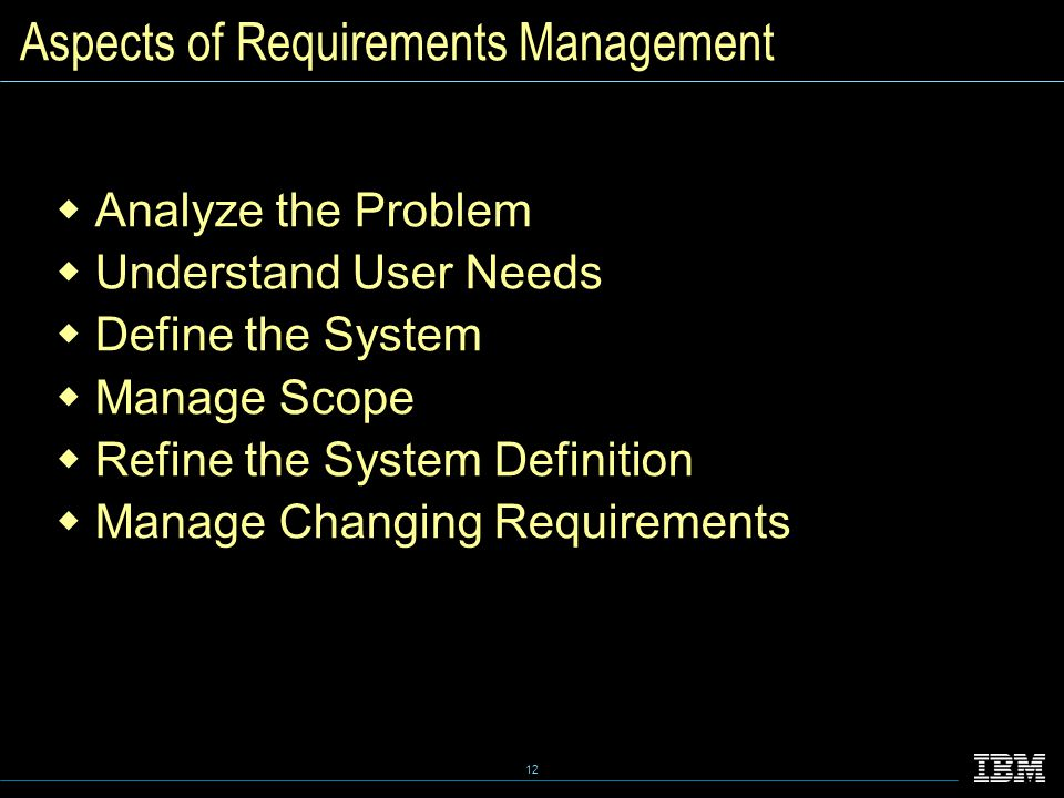 12 Aspects of Requirements Management  Analyze the Problem  Understand User Needs  Define the System  Manage Scope  Refine the System Definition