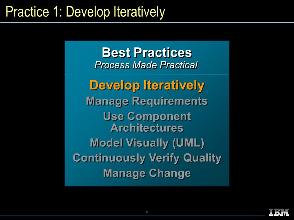 6 Best Practices Process Made Practical Best Practices Process Made Practical Develop Iteratively Manage Requirements Use Component Architectures Model Visually (UML) Continuously Verify Quality Manage Change Develop Iteratively Manage Requirements Use Component Architectures Model Visually (UML) Continuously Verify Quality Manage Change Practice 1: Develop Iteratively