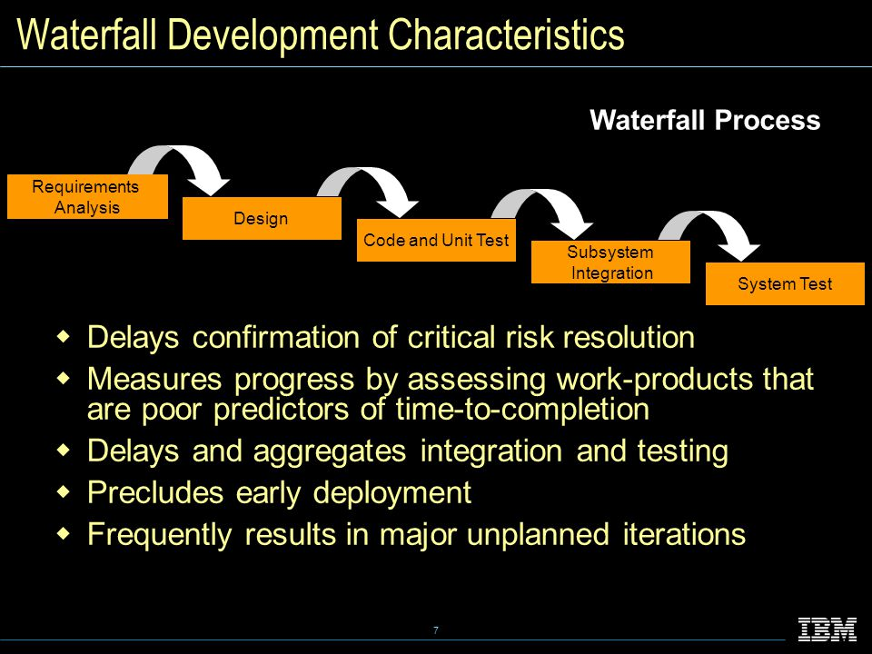 7 Waterfall Development Characteristics  Delays confirmation of critical risk resolution  Measures progress by assessing work-products that are poor predictors of time-to-completion  Delays and aggregates integration and testing  Precludes early deployment  Frequently results in major unplanned iterations Waterfall Process Requirements Analysis Design Code and Unit Test Subsystem Integration System Test