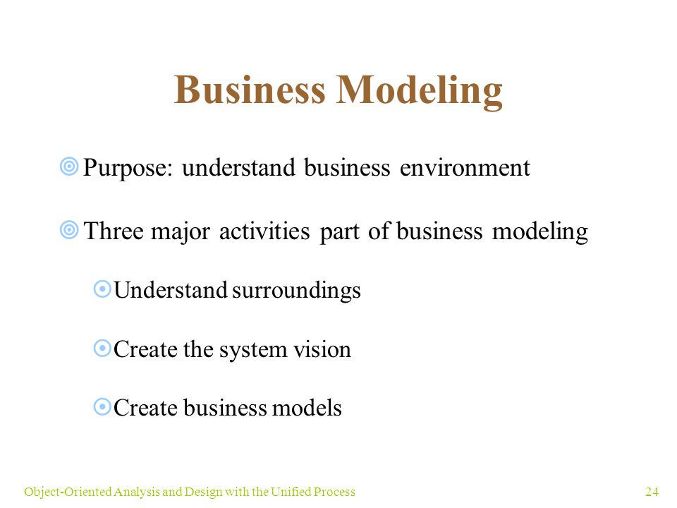 24Object-Oriented Analysis and Design with the Unified Process Business Modeling  Purpose: understand business environment  Three major activities p