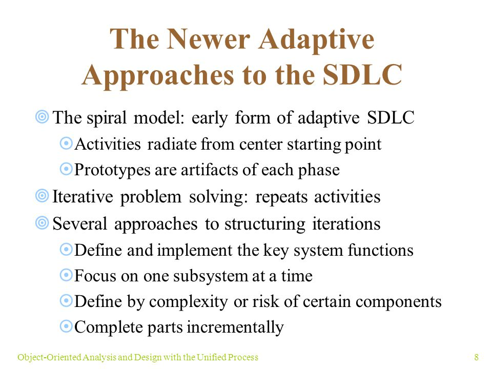 49Object-Oriented Analysis and Design with the Unified Process Summary  SDLC: set of activities required to complete system development project  Predictive SDLC: executes project in sequential phases (waterfall approach)  Adaptive SDLC: accommodates change and phase overlap  Spiral SDLC model introduces iterations (cycles)  UP is an adaptive system development methodology