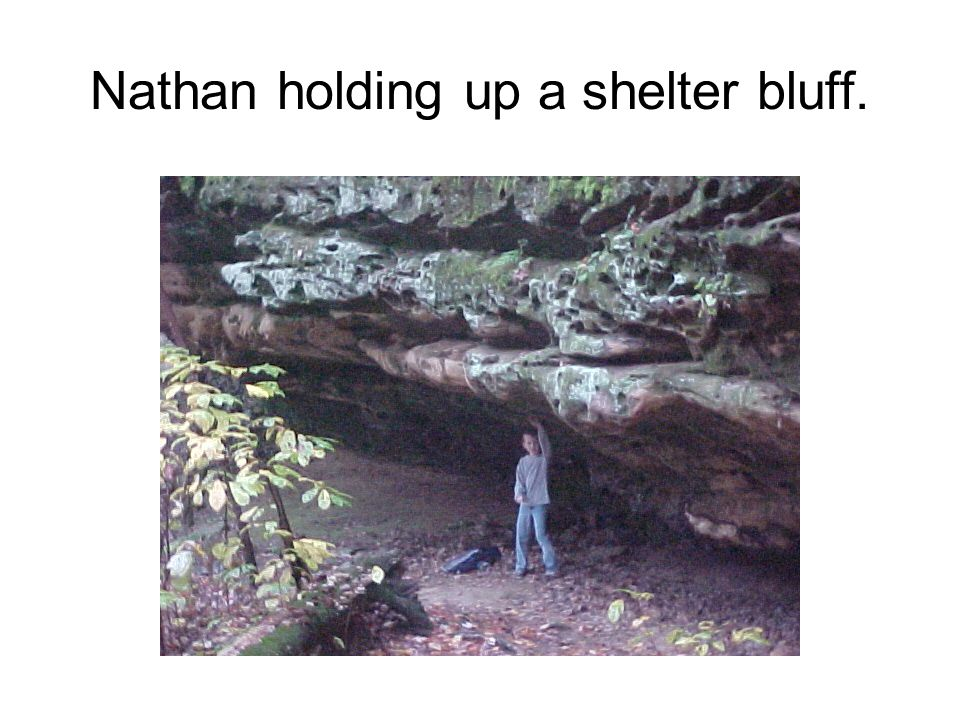 Nathan holding up a shelter bluff.