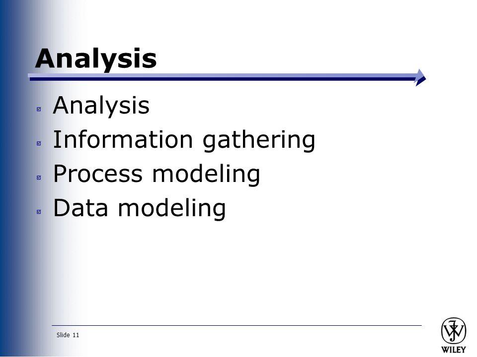 Slide 11 Analysis Information gathering Process modeling Data modeling Analysis