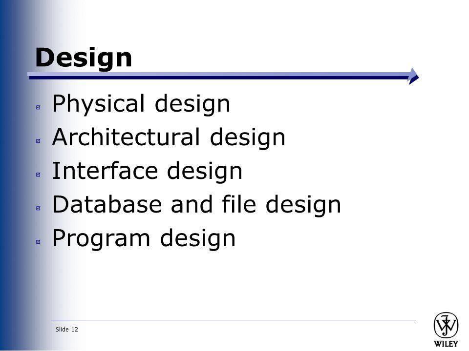 Slide 12 Physical design Architectural design Interface design Database and file design Program design Design