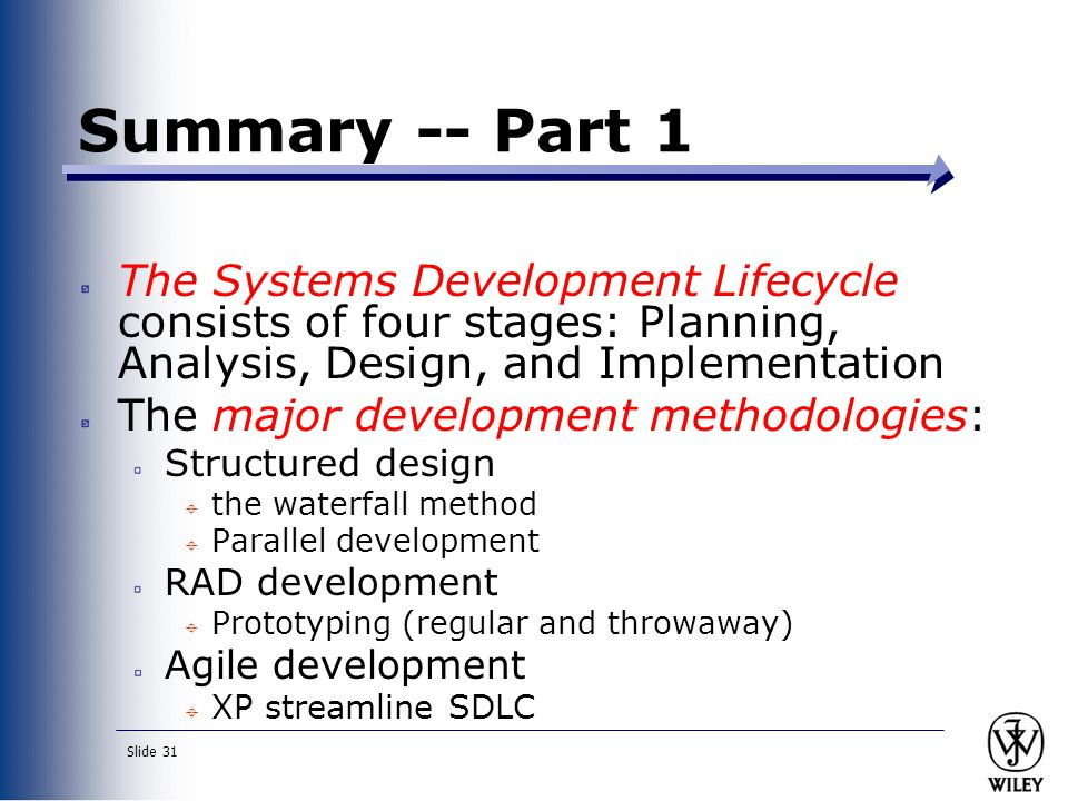 Slide 31 Summary -- Part 1 The Systems Development Lifecycle consists of four stages: Planning, Analysis, Design, and Implementation The major develop