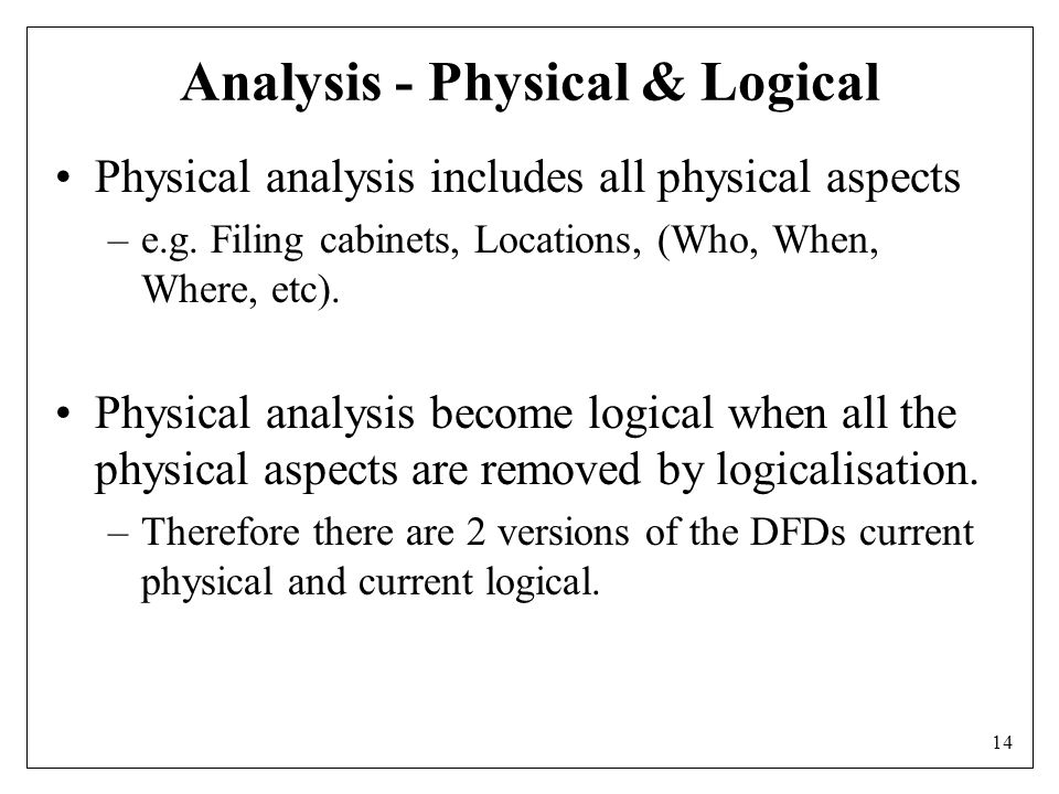 14 Analysis - Physical & Logical Physical analysis includes all physical aspects –e.g.