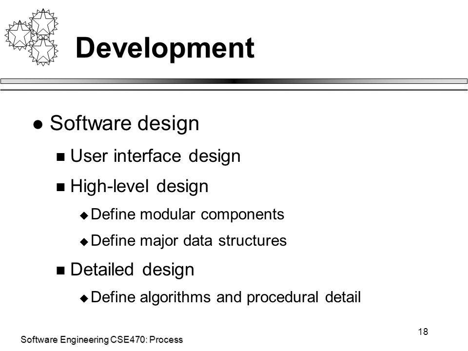 Software Engineering CSE470: Process 18 Development Software design User interface design High-level design  Define modular components  Define major data structures Detailed design  Define algorithms and procedural detail