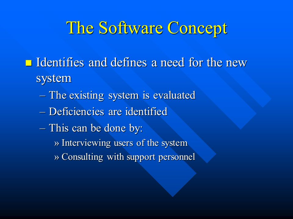 The Software Concept Identifies and defines a need for the new system Identifies and defines a need for the new system –The existing system is evaluat
