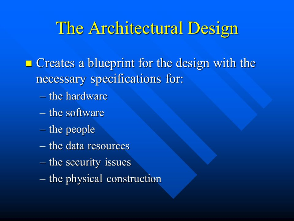 The Architectural Design Creates a blueprint for the design with the necessary specifications for: Creates a blueprint for the design with the necessa