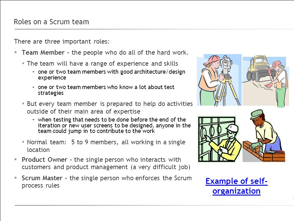 Roles on a Scrum team There are three important roles:  Team Member – the people who do all of the hard work.