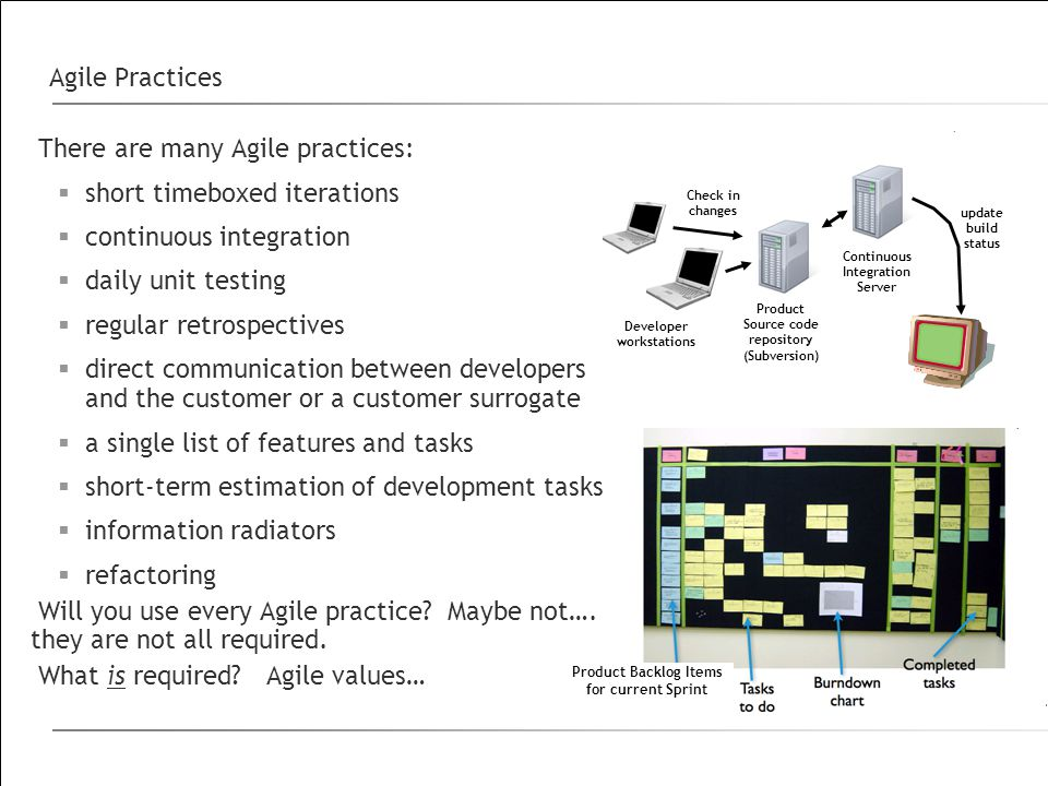 Agile Practices There are many Agile practices:  short timeboxed iterations  continuous integration  daily unit testing  regular retrospectives  direct communication between developers and the customer or a customer surrogate  a single list of features and tasks  short-term estimation of development tasks  information radiators  refactoring Will you use every Agile practice.