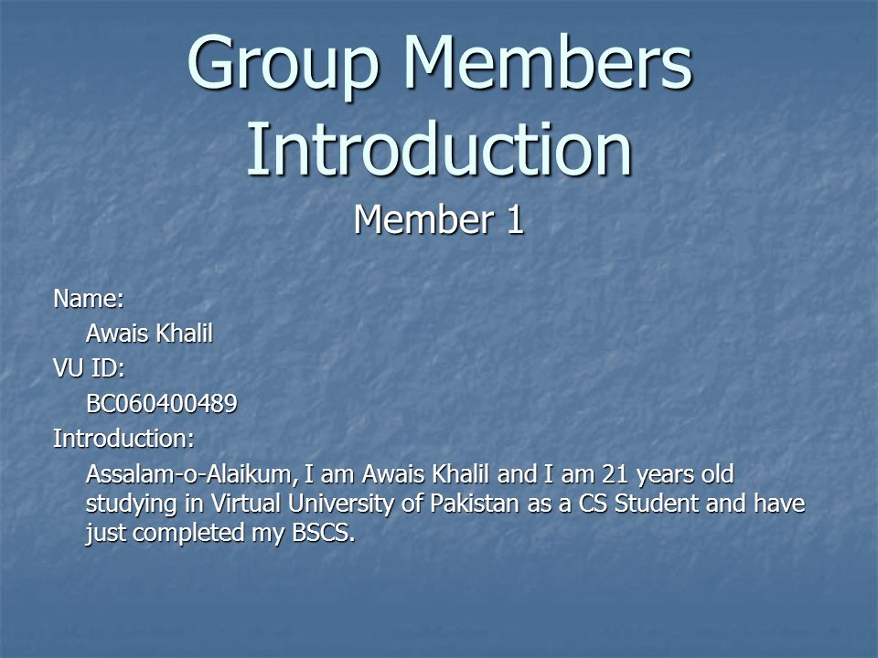 Team Structure Group ID: S10205053 Name: Awais Khalil VU ID: BC060400489 Major Responsibilities: Software Engineering & diagrammatic work Name: Adeem Mughal VU ID: BC060400502 Major Responsibilities: Introduction & Coding, Forms filling