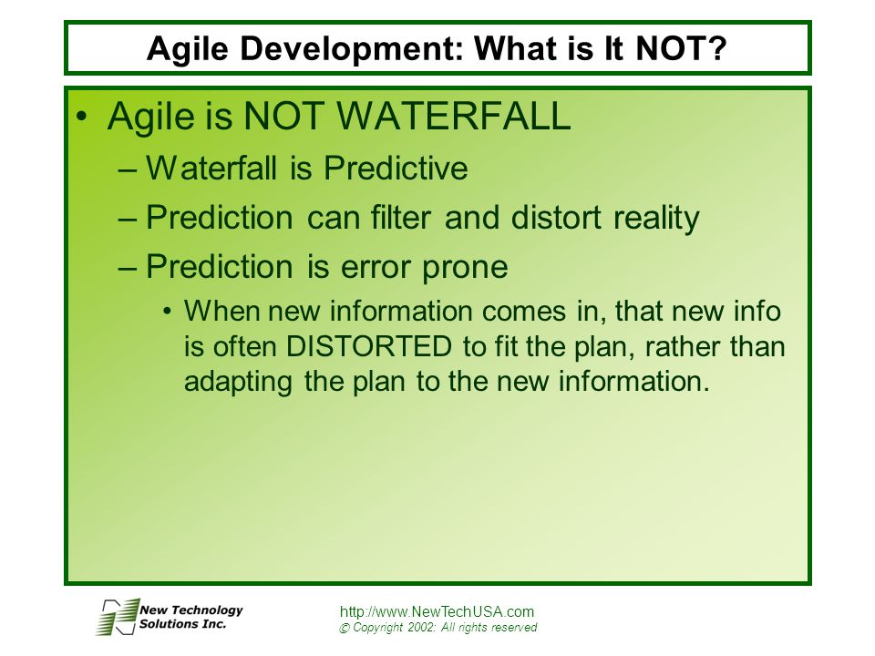 http://www.NewTechUSA.com © Copyright 2002: All rights reserved Agile Development: What is It NOT.