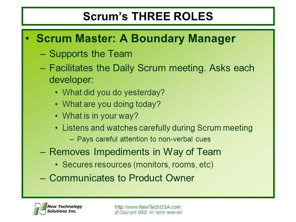 http://www.NewTechUSA.com © Copyright 2002: All rights reserved Scrum's THREE ROLES Scrum Master: A Boundary Manager –Supports the Team –Facilitates the Daily Scrum meeting.