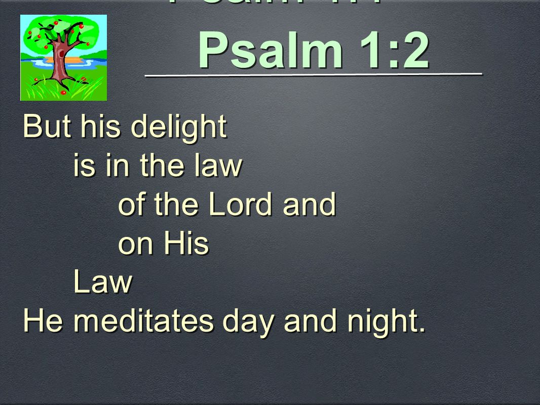 Psalm 1:2 But his delight is in the law of the Lord and on His Law He meditates day and night. But his delight is in the law of the Lord and on His La