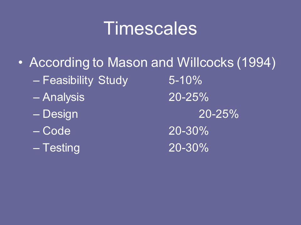 Timescales According to Mason and Willcocks (1994) –Feasibility Study5-10% –Analysis20-25% –Design20-25% –Code20-30% –Testing20-30%