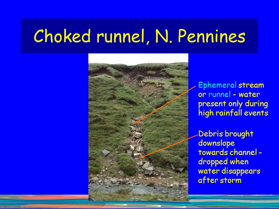 Choked runnel, N. Pennines Debris brought downslope towards channel - dropped when water disappears after storm Ephemeral stream or runnel - water pre