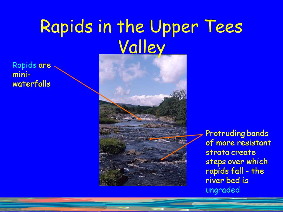Rapids are mini- waterfalls Protruding bands of more resistant strata create steps over which rapids fall - the river bed is ungraded