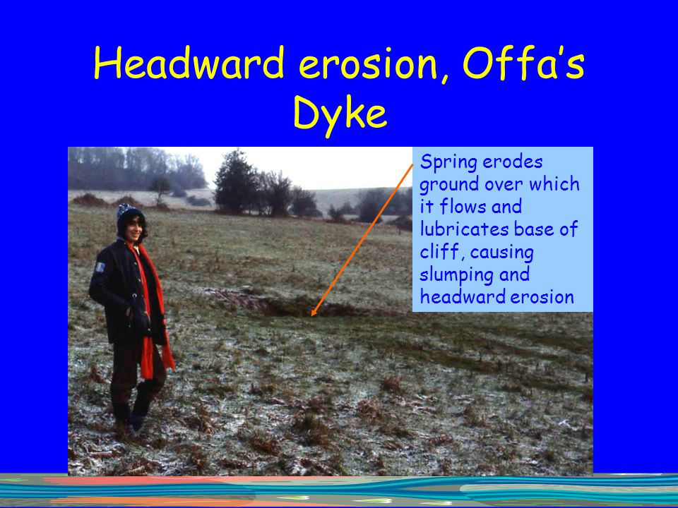 Headward erosion, Offa's Dyke Spring erodes ground over which it flows and lubricates base of cliff, causing slumping and headward erosion