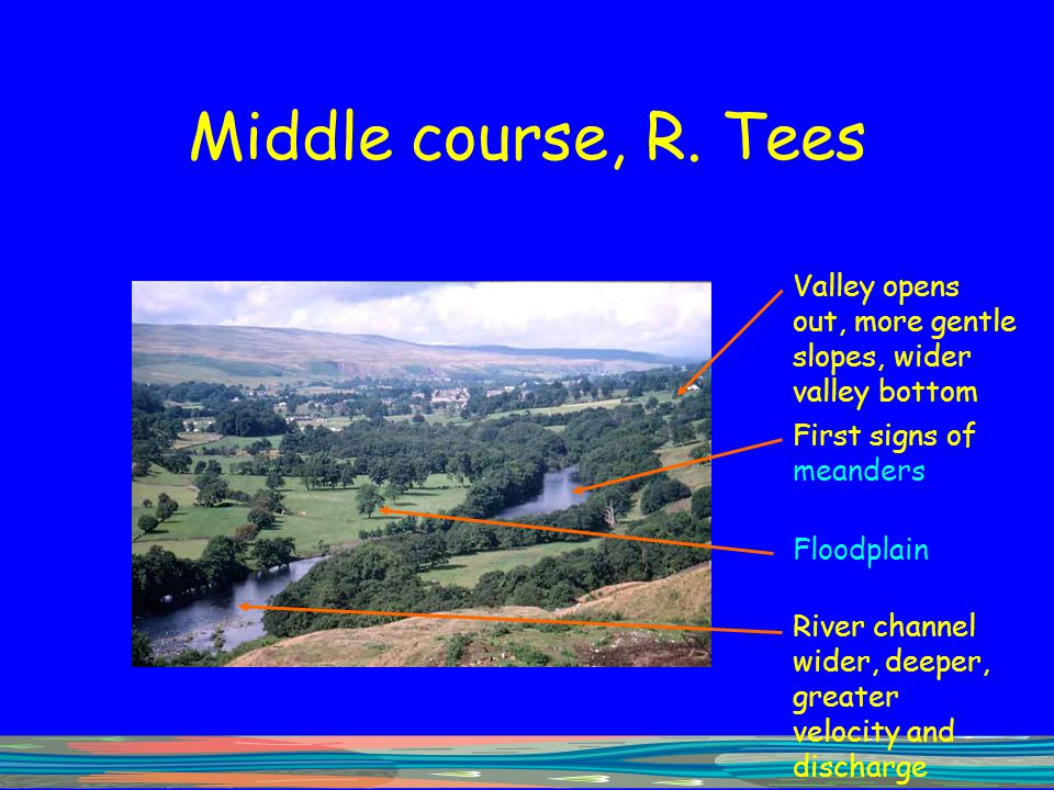 Middle course, R. Tees Valley opens out, more gentle slopes, wider valley bottom First signs of meanders Floodplain River channel wider, deeper, great