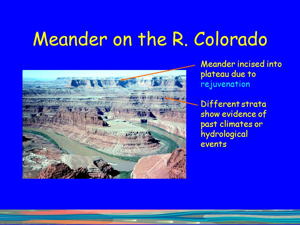 Meander on the R. Colorado Meander incised into plateau due to rejuvenation Different strata show evidence of past climates or hydrological events