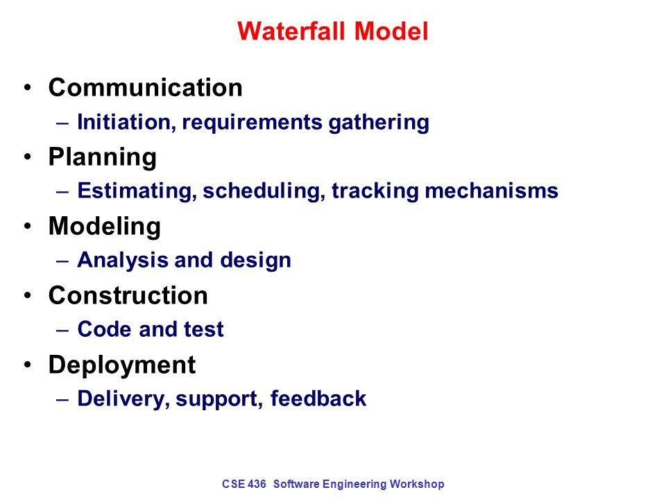 CSE 436 Software Engineering Workshop Waterfall Model Real projects find it difficult to be so linear Customers have trouble stating requirements consistently, accurately, minimally.