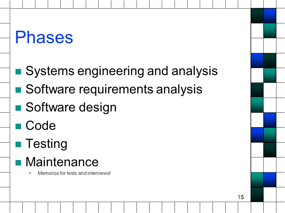 15 Phases Systems engineering and analysis Software requirements analysis Software design Code Testing Maintenance Memorize for tests and interviews!