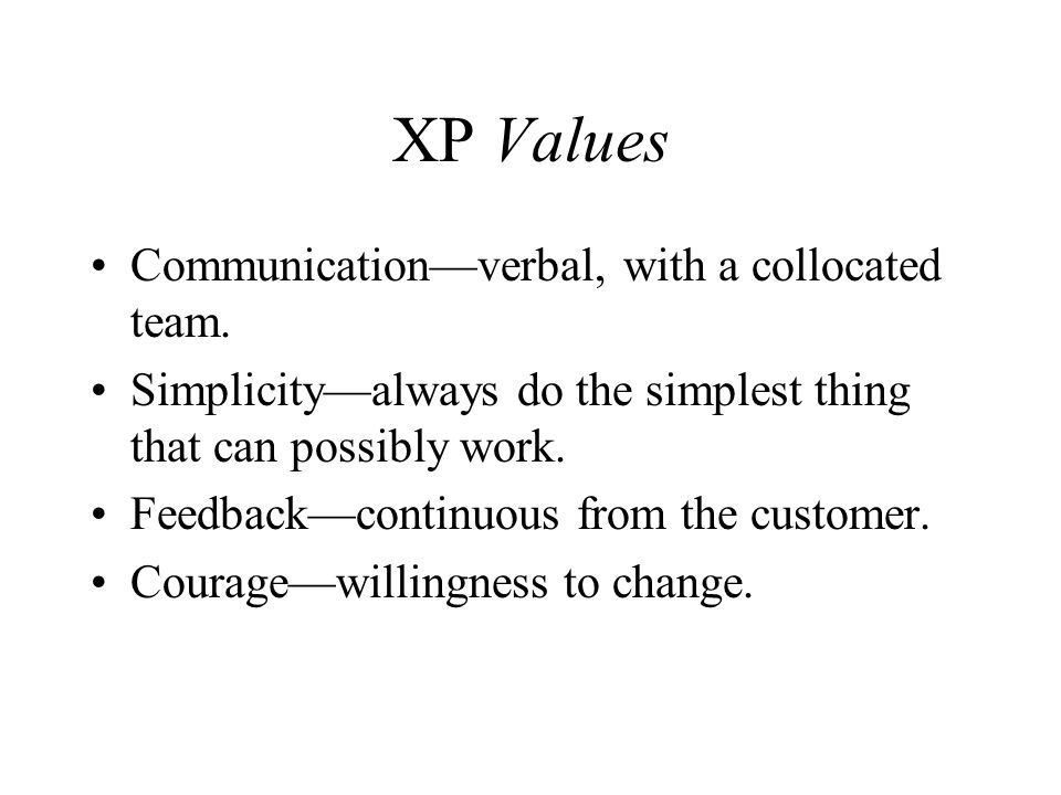 XP Values Communication—verbal, with a collocated team.