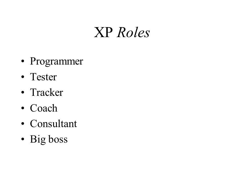 XP Roles Programmer Tester Tracker Coach Consultant Big boss