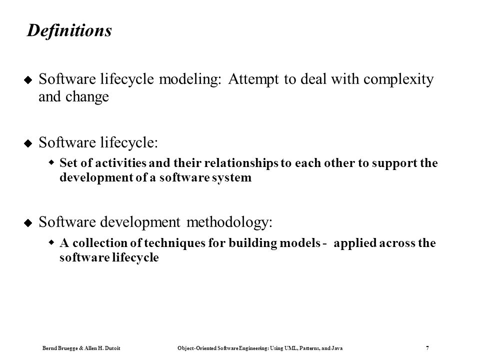 Copyright 2002 Bernd Brügge Software Engineering II, Lecture 3: Scheduling SS 2002 78 DOD Standard 2167A  Required by the Department of Defense for all software contractors in the 1980-90s  Waterfall-based model with the software development activities  System Requirements Analysis/Design  Software Requirements Analysis  Preliminary Design and Detailed Design  Coding and CSU testing (CSU = Computer Software Unit)  CSC Integration and Testing (CSC = Computer Software Component, can be decomposed into CSC s and CSU s)  CSCI Testing (CSCI = Computer Software Configuration Item)  System integration and Testing