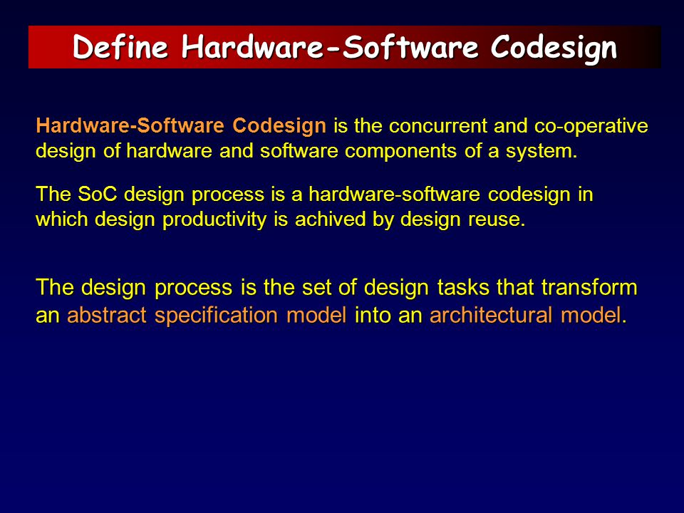 Define Hardware-Software Codesign Hardware-Software Codesign Hardware-Software Codesign is the concurrent and co-operative design of hardware and soft