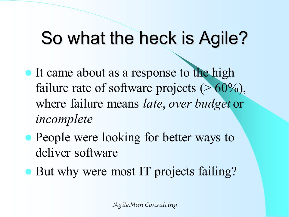 AgileMan Consulting So what the heck is Agile.