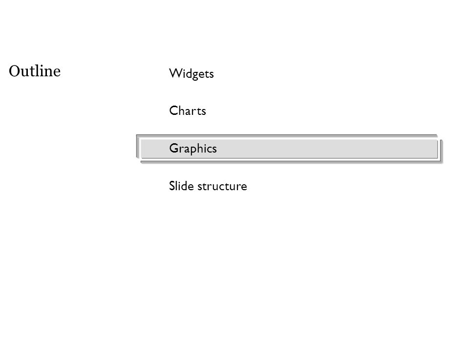 Widgets Charts Graphics Slide structure Outline