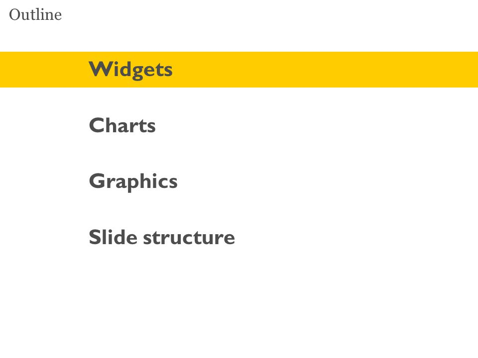 Outline Widgets Charts Graphics Slide structure