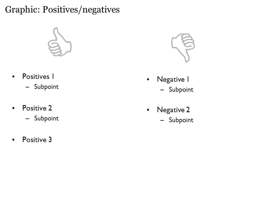 Graphic: Positives/negatives Positives 1 –Subpoint Positive 2 –Subpoint Positive 3 Negative 1 –Subpoint Negative 2 –Subpoint 