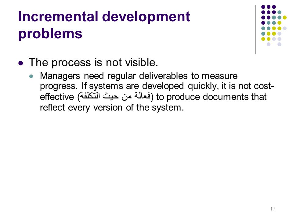 Incremental development problems The process is not visible. Managers need regular deliverables to measure progress. If systems are developed quickly,