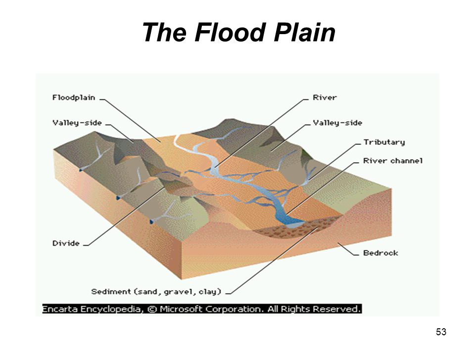 54 The Flood Plain The Flood Plain is a flat region of a valley floor located on either side of a river channel A floodplain is built of sediments deposited by the river that flows through it and is covered by water during floods when the river overflows its banks.