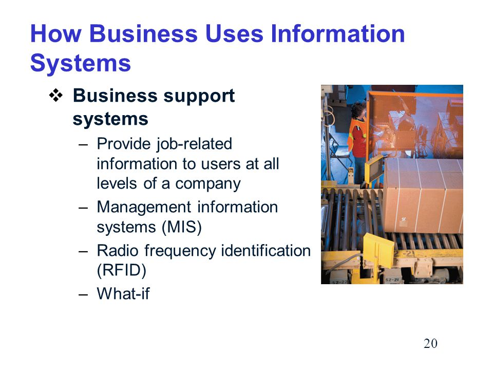 20 How Business Uses Information Systems  Business support systems –Provide job-related information to users at all levels of a company –Management information systems (MIS) –Radio frequency identification (RFID) –What-if