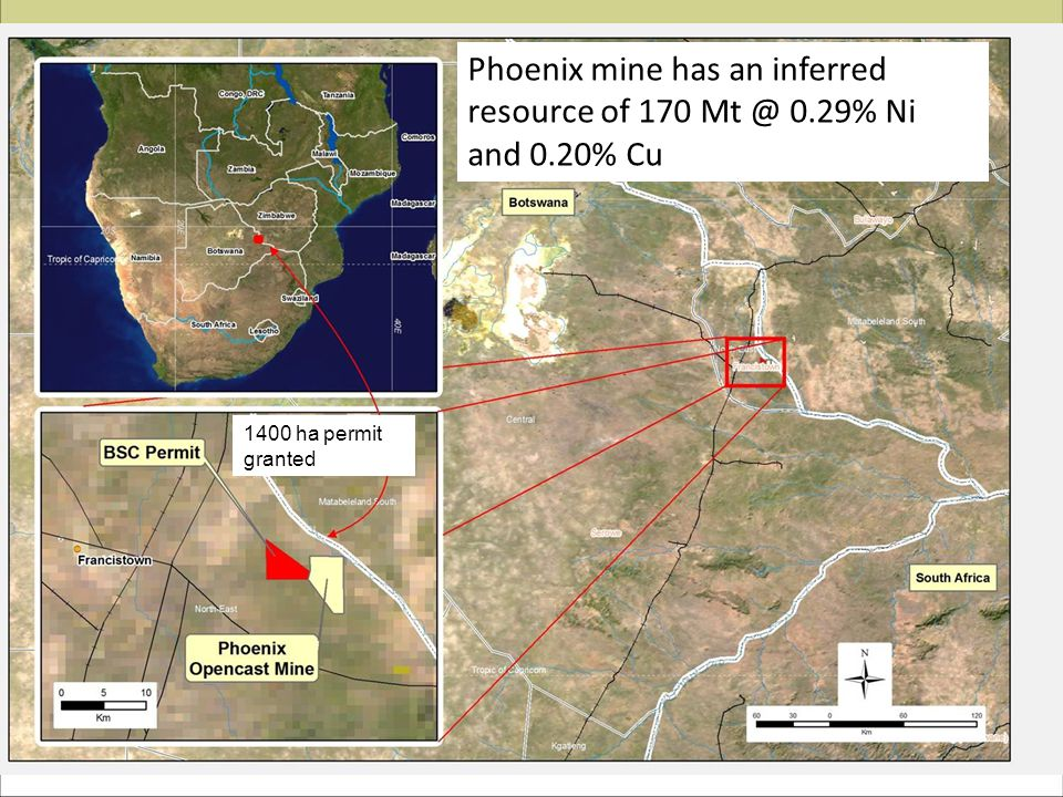 Phoenix mine has an inferred resource of 170 Mt @ 0.29% Ni and 0.20% Cu 1400 ha permit granted