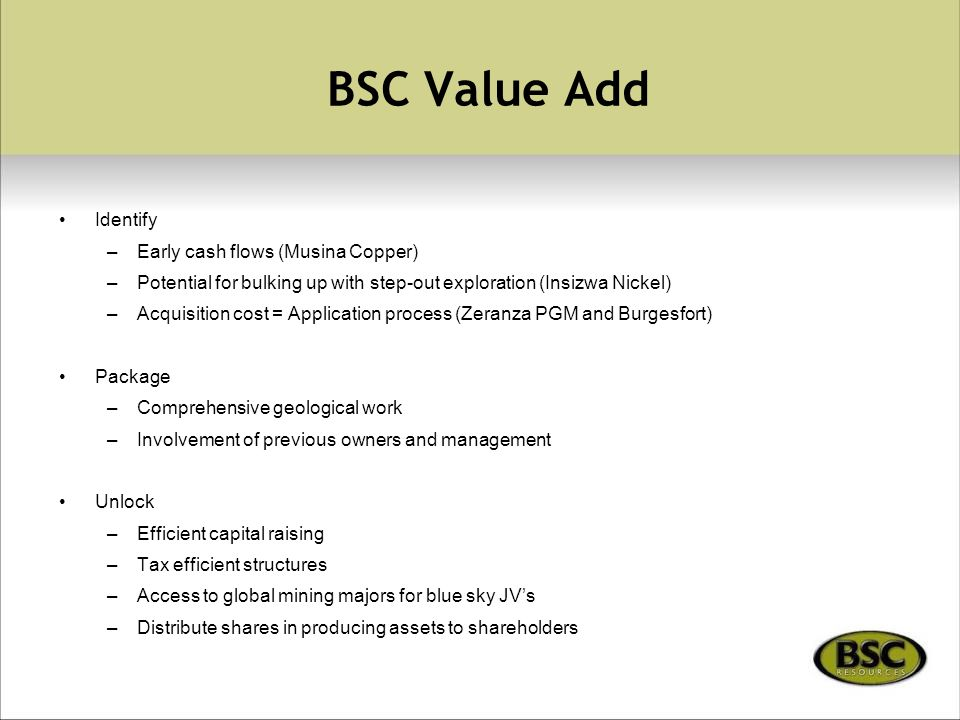 BSC Value Add Identify –Early cash flows (Musina Copper) –Potential for bulking up with step-out exploration (Insizwa Nickel) –Acquisition cost = Application process (Zeranza PGM and Burgesfort) Package –Comprehensive geological work –Involvement of previous owners and management Unlock –Efficient capital raising –Tax efficient structures –Access to global mining majors for blue sky JV's –Distribute shares in producing assets to shareholders