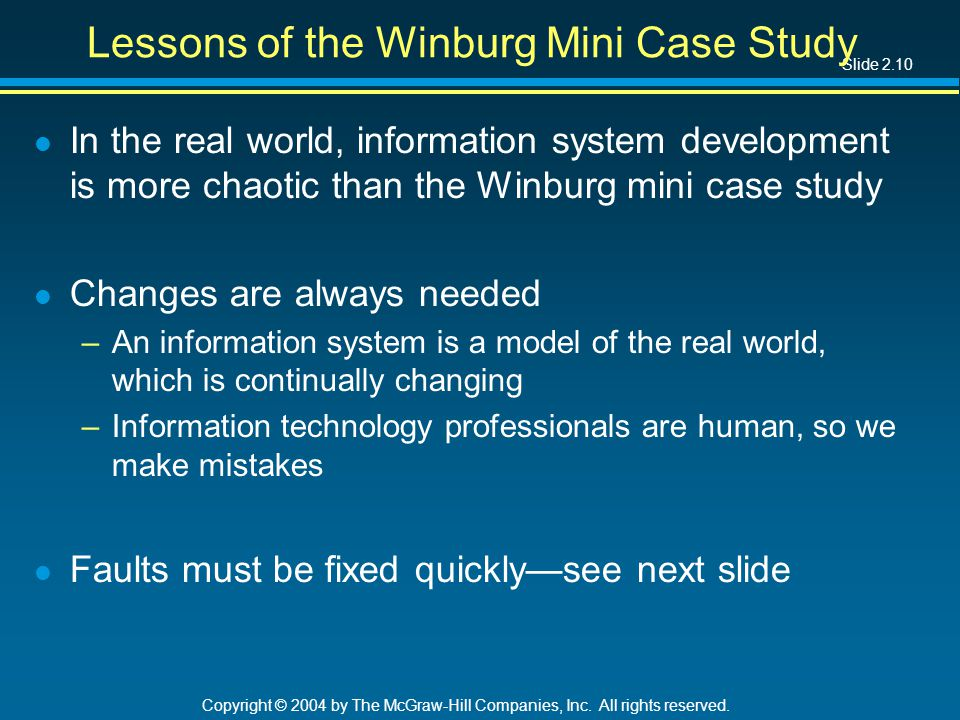 Slide 2.10 Copyright © 2004 by The McGraw-Hill Companies, Inc. All rights reserved. Lessons of the Winburg Mini Case Study l In the real world, inform