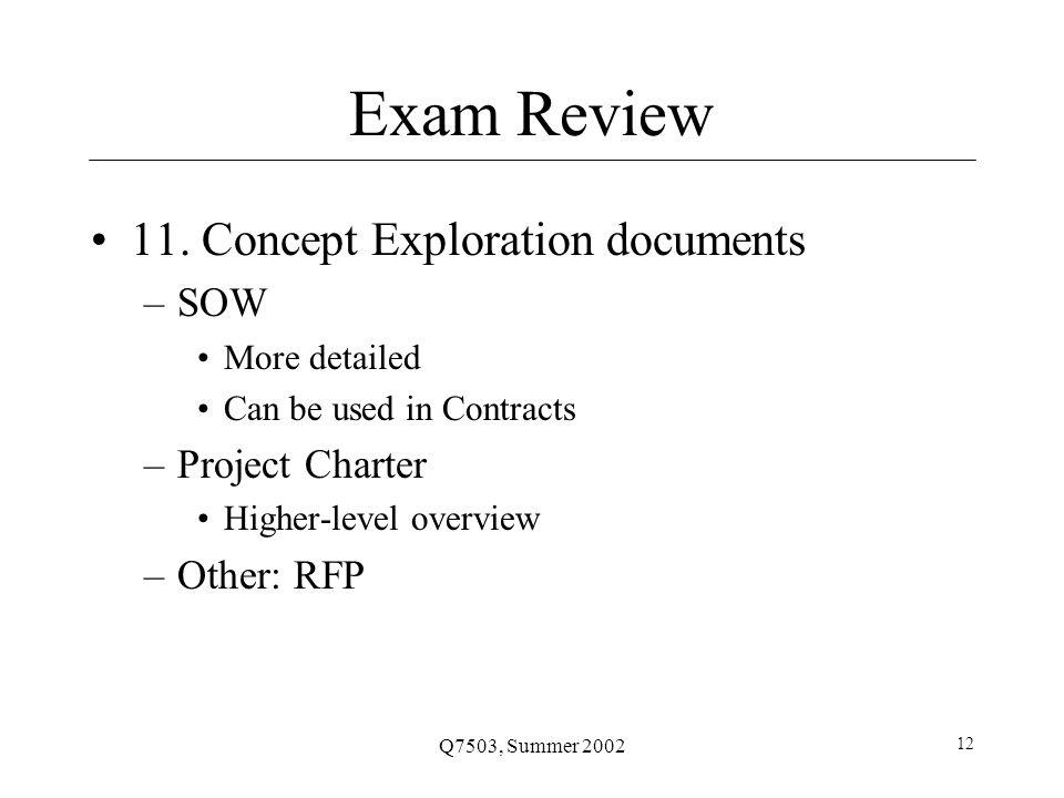 Q7503, Summer 2002 12 Exam Review 11.