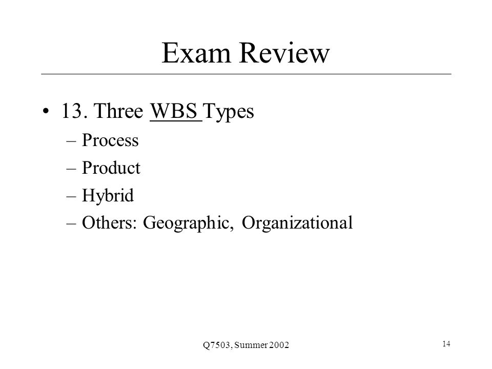 Q7503, Summer 2002 14 Exam Review 13.