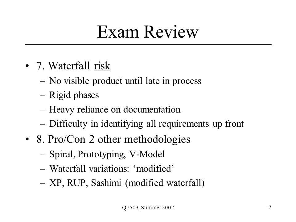 Q7503, Summer 2002 9 Exam Review 7.