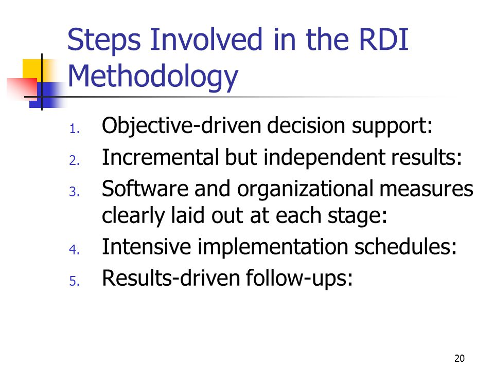 20 Steps Involved in the RDI Methodology 1. Objective-driven decision support: 2. Incremental but independent results: 3. Software and organizational
