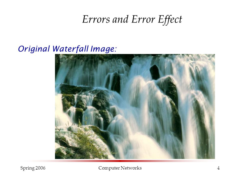Spring 2006Computer Networks4 Errors and Error Effect Original Waterfall Image: