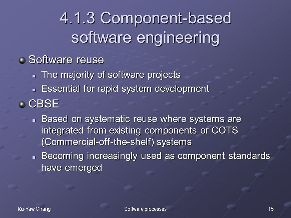 15Ku-Yaw ChangSoftware processes 4.1.3 Component-based software engineering Software reuse The majority of software projects The majority of software projects Essential for rapid system development Essential for rapid system developmentCBSE Based on systematic reuse where systems are integrated from existing components or COTS (Commercial-off-the-shelf) systems Based on systematic reuse where systems are integrated from existing components or COTS (Commercial-off-the-shelf) systems Becoming increasingly used as component standards have emerged Becoming increasingly used as component standards have emerged