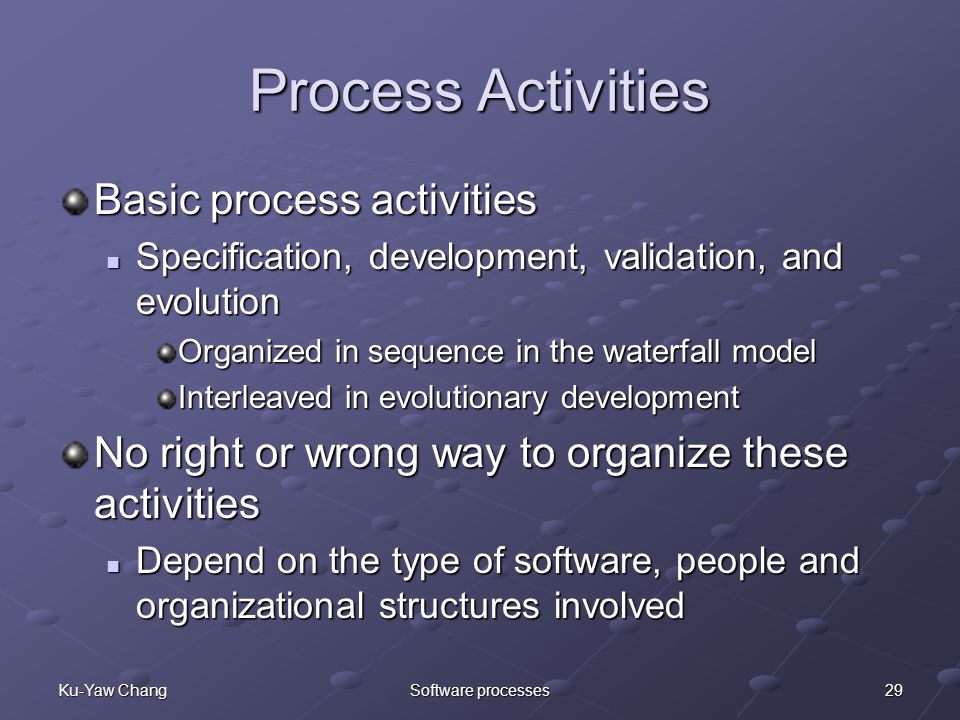 29Ku-Yaw ChangSoftware processes Process Activities Basic process activities Specification, development, validation, and evolution Specification, development, validation, and evolution Organized in sequence in the waterfall model Interleaved in evolutionary development No right or wrong way to organize these activities Depend on the type of software, people and organizational structures involved Depend on the type of software, people and organizational structures involved