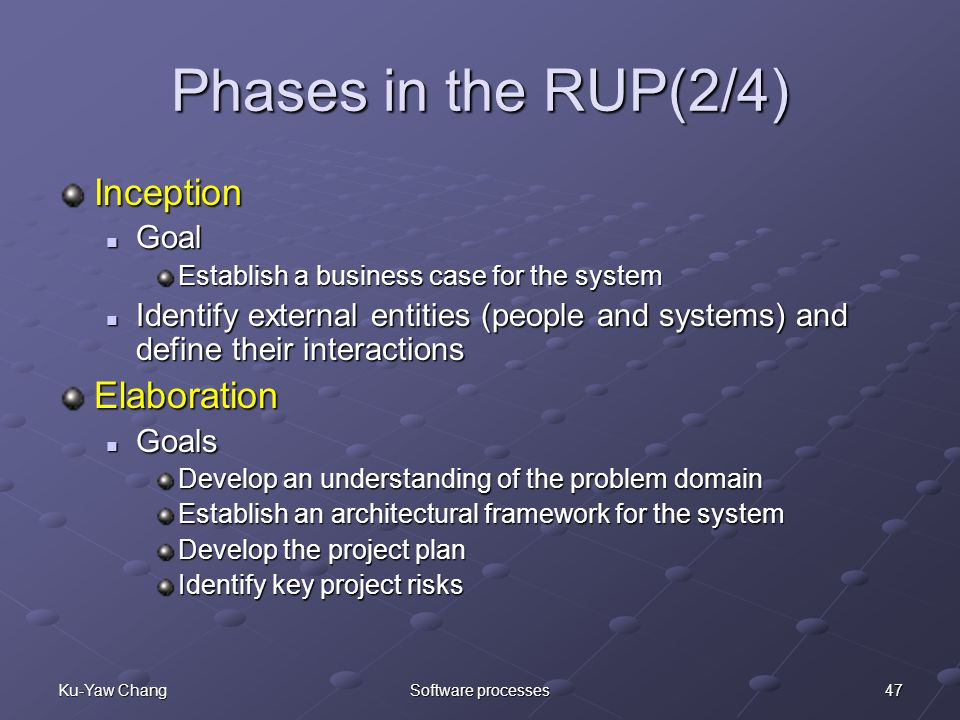 47Ku-Yaw ChangSoftware processes Phases in the RUP(2/4) Inception Goal Goal Establish a business case for the system Identify external entities (people and systems) and define their interactions Identify external entities (people and systems) and define their interactionsElaboration Goals Goals Develop an understanding of the problem domain Establish an architectural framework for the system Develop the project plan Identify key project risks