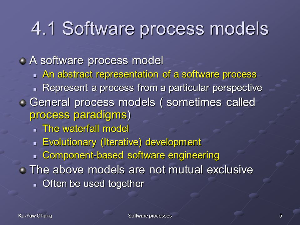 5Ku-Yaw ChangSoftware processes 4.1 Software process models A software process model An abstract representation of a software process An abstract representation of a software process Represent a process from a particular perspective Represent a process from a particular perspective General process models ( sometimes called process paradigms) The waterfall model The waterfall model Evolutionary (Iterative) development Evolutionary (Iterative) development Component-based software engineering Component-based software engineering The above models are not mutual exclusive Often be used together Often be used together